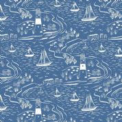 Lewis & Irene - Old Harry Rocks - 6427 - Lighthouse & Yachts, White on Blue - A366.3 - Cotton Fabric